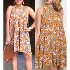 Mustard floral high neck detail floral tunic dress